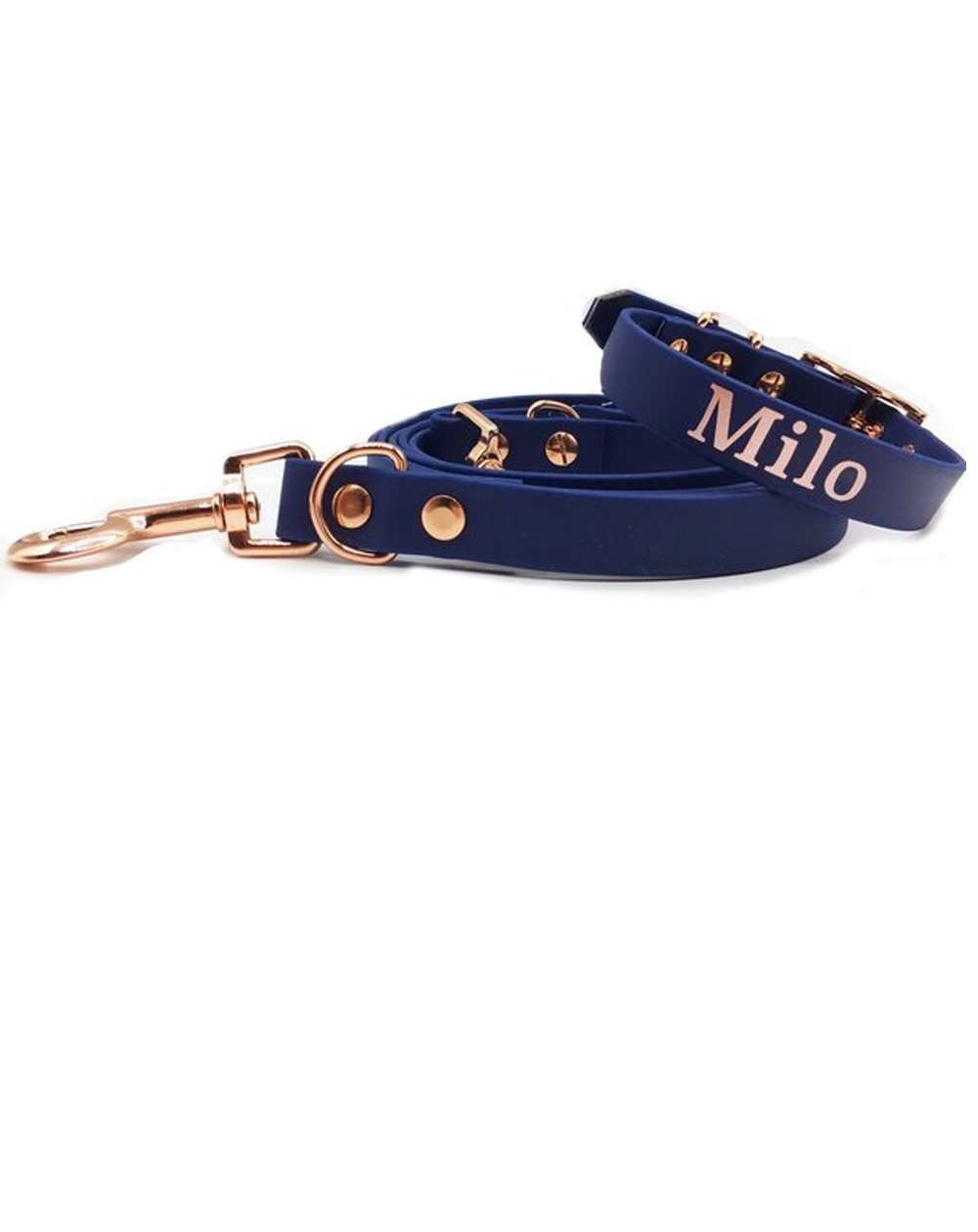 Personalized collar and leash Navy