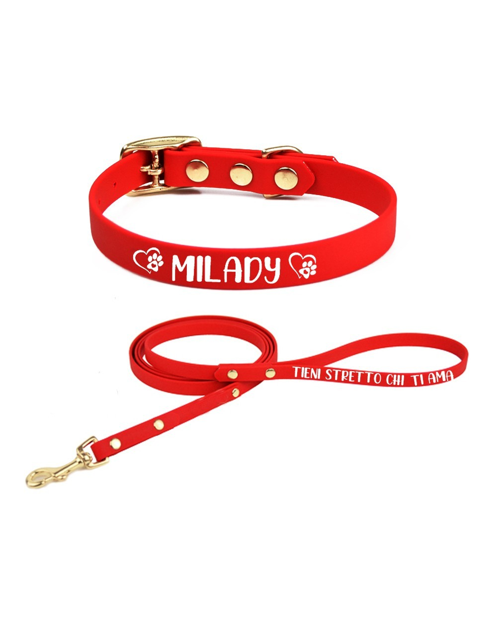 Personalized collar and leash Redheart