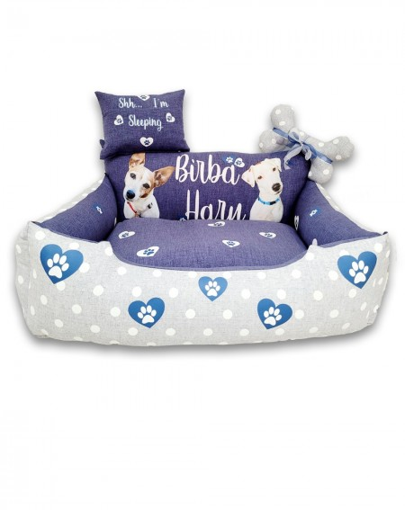 Personalized Dog Bed GrisBlue