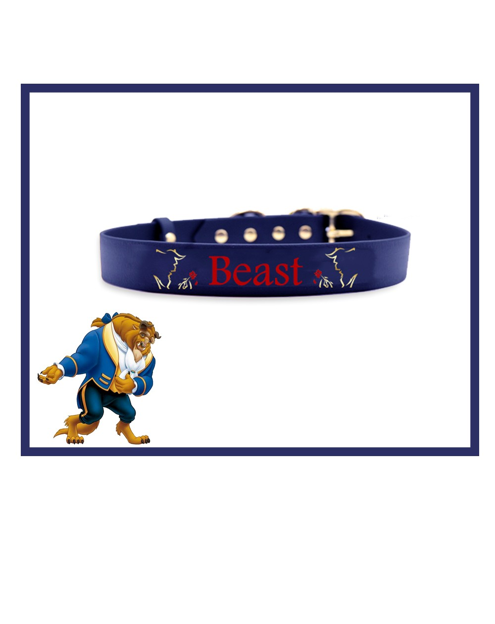 Collare personalizzato con nome per cani modello La Bella e La Bestia